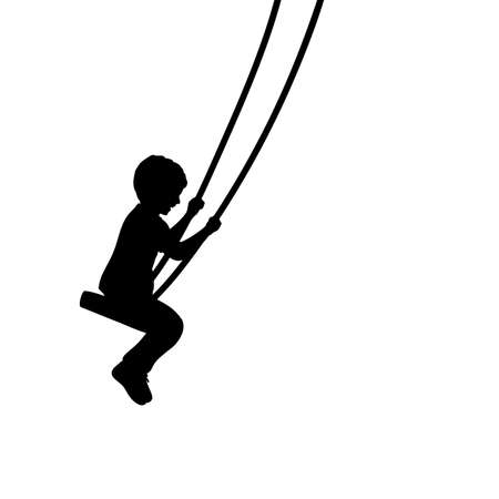 Silhouette young boy on swings sideways