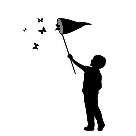 Silhouette little boy catches butterflies 矢量图像
