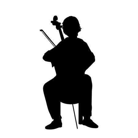 Silhouette boy playing musical instrument Cello.