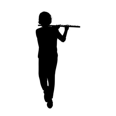 Silhouette teenage boy playing flute. 矢量图像