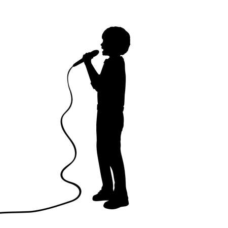 Silhouette boy singing into a microphone