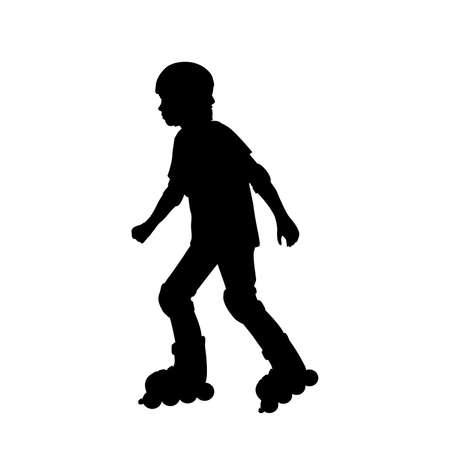 Silhouette boy rollerskating 矢量图像