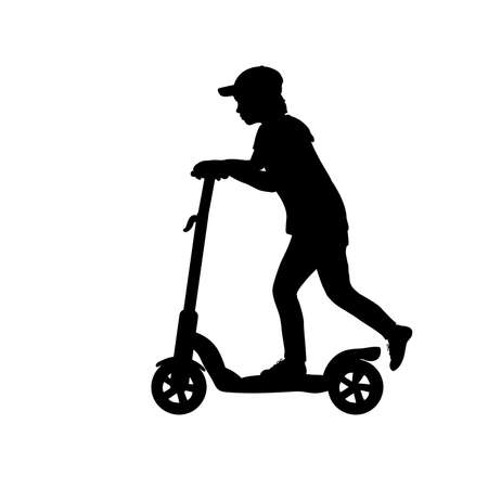 Silhouette teenage boy riding scooter
