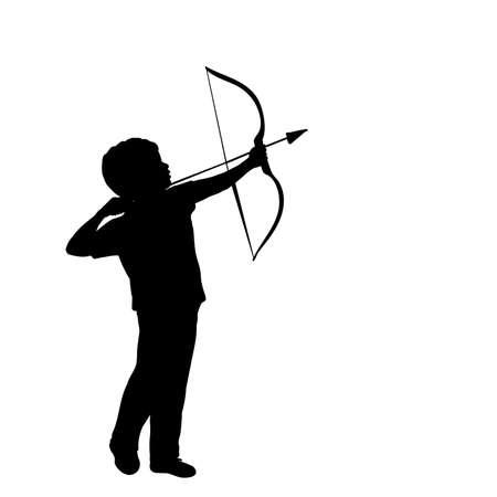 Silhouette little boy shoots bow 矢量图像