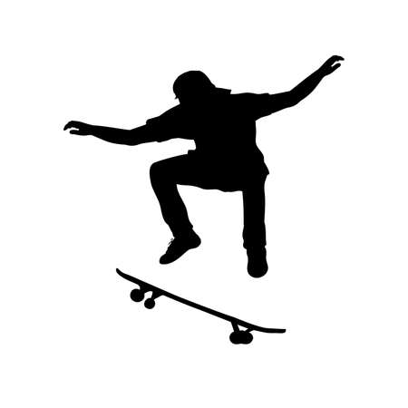 Silhouette teenage boy skateboarder jumping