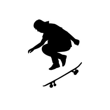 Silhouette teenage skateboarder jumping sideways