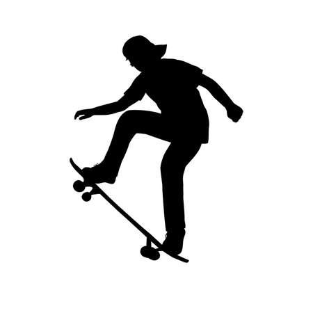 Silhouette of teenage skateboarder learning trick on skateboard