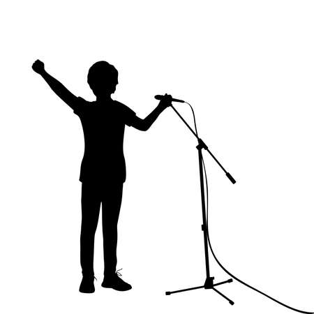 Silhouette teenage boy singing into microphone. 矢量图像