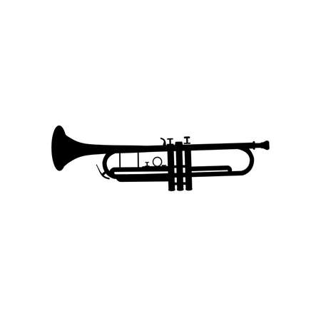 Silhouette image musical instrument trumpet