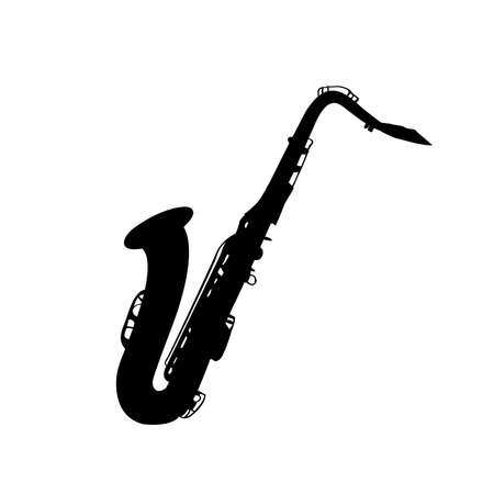 Silhouette image musical instrument saxophone