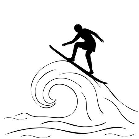 Silhouette young man surfing wave