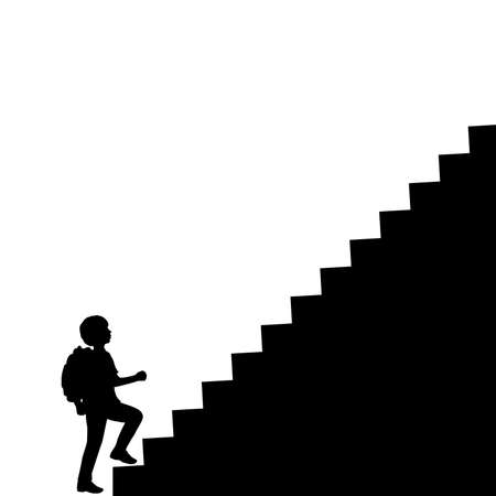 Silhouette school boy with backpack climbs the stairs to the top