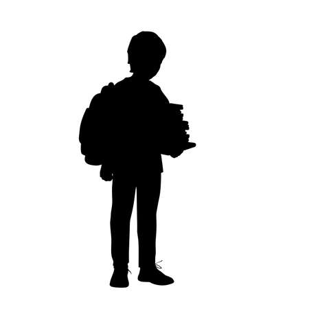 Silhouette school boy with backpack holding books 矢量图像