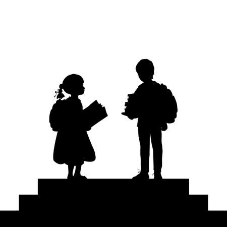 Silhouette schoolboy and schoolgirl with backpacks and books