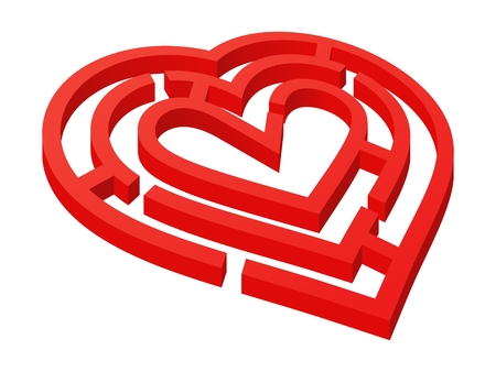 Heart shaped labyrinth  Vector background Vector