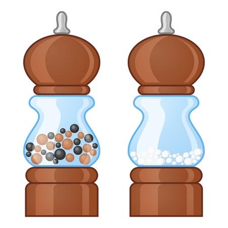 Salt and pepper mills Vektorové ilustrace