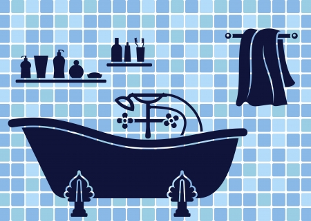 Blue bathroom interior with bath Vector