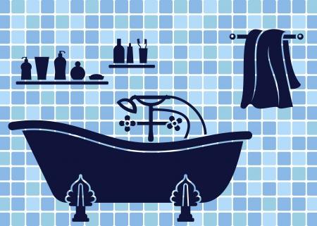 Blu bagno interno con vasca