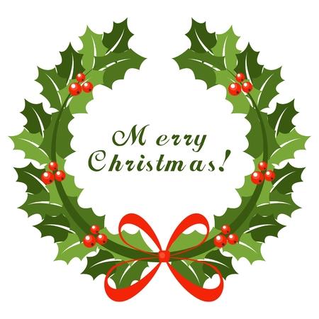 クリスマス リースと赤の弓  イラスト・ベクター素材