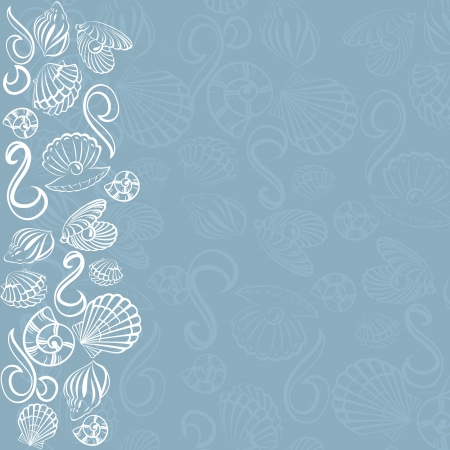Seashell card  Abstract background with seashell Vector