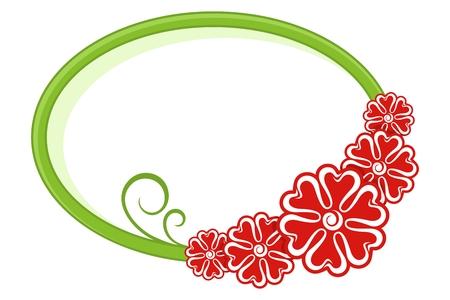 Oval frame. Floral pattern. Vector