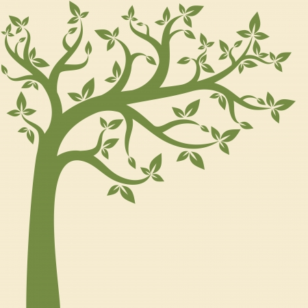 Decorative trees background. Spring banner Vector