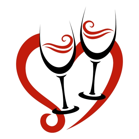 Two Abstract Glasses of Red Wine & Heart Vector