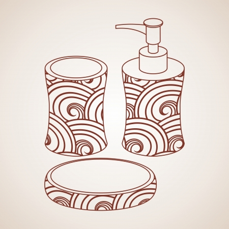 exfoliation: Bath accessory.  bath bottle and bar soap Illustration