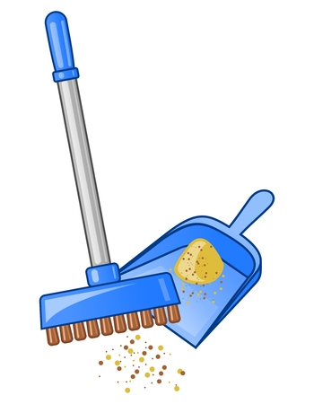 cartoon cleaner: Broom and dustpan . Vector illustration.