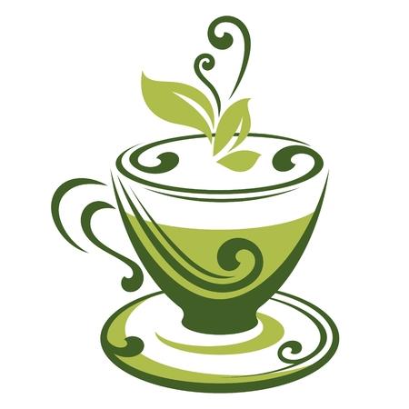 x�cara de ch�: �cone do vetor de x�cara de ch� verde Ilustra��o