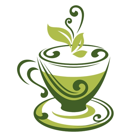 mint leaves: Vector icon of green tea cup Illustration