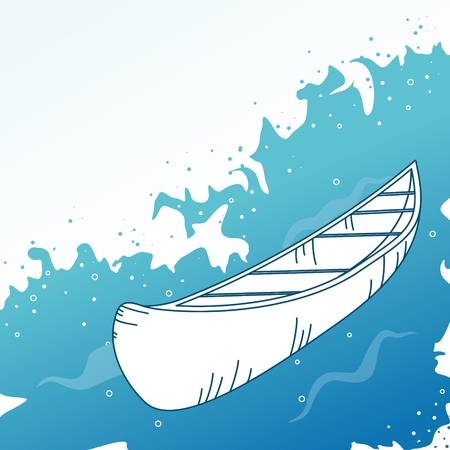 Background with boat. Vector