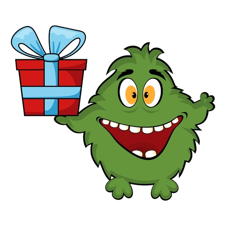 Friendly monster holding a gift box. Vector