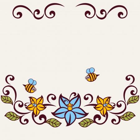 Floral background. Flourish invitation card.