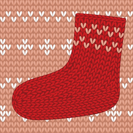 thread count: Red knitted sock on seamless pattern. Illustration
