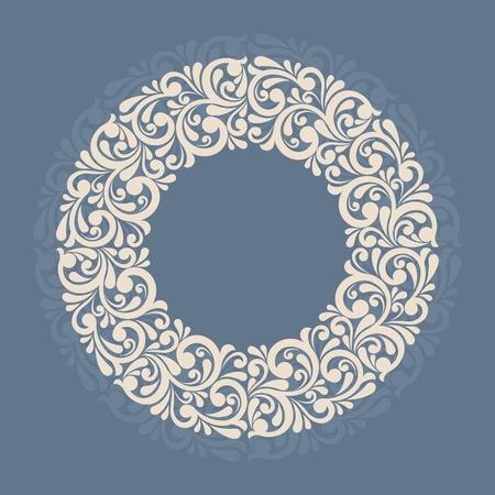 Round floral frame. Çizim