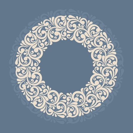 Round floral frame. Illustration