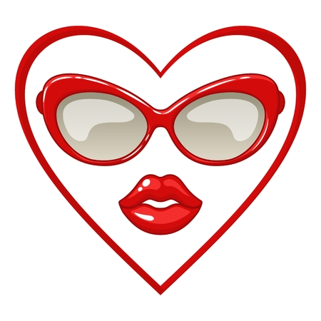 Red sunglasses and lips. Vector