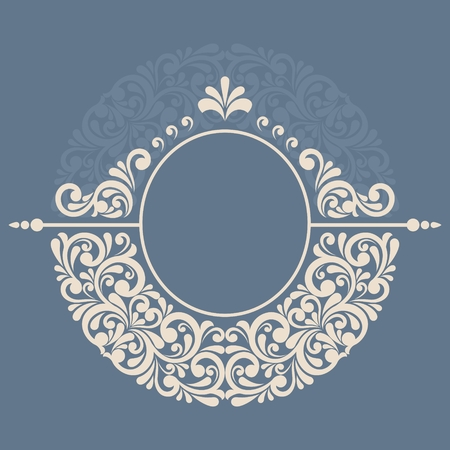 Round floral frame Çizim