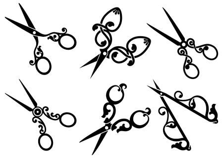 antique scissors: Set di forbici retr�