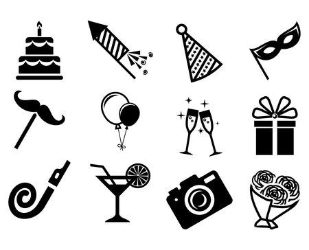 drunk party: Party icons set.