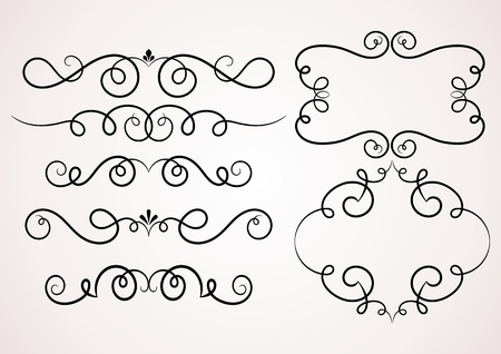 border line: Calligraphic decorative elements. Set of design elements.