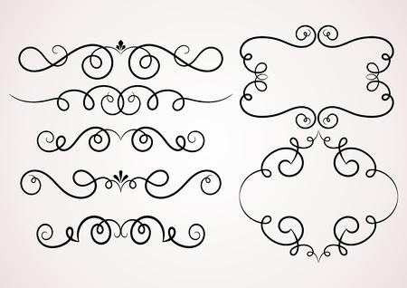 Calligraphic decorative elements. Set of design elements.