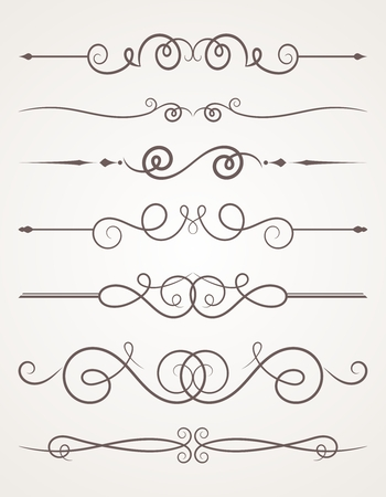 Calligraphic decorative elements. Set of design elements. Vector