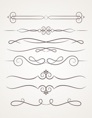 Elementos decorativos caligráficos. Conjunto de elementos de diseño.