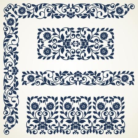 barroco: Conjunto de elementos florales para el diseño. Conjunto de fronteras adornadas de la vendimia.