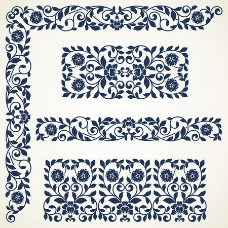 Set of floral elements for design. Set of vintage ornate borders. Çizim