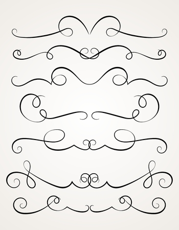 calligraphy swirl: Calligraphic decorative elements for design.