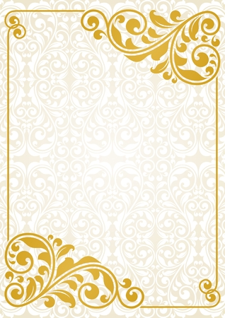 gold border: Vintage greeting card. This is file of EPS10 format.