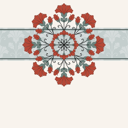 semicircle: Invitation card with floral ornament.